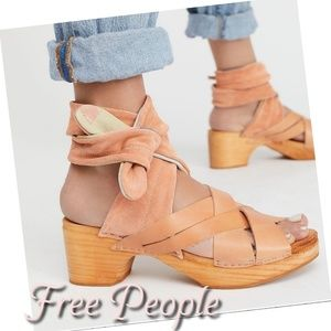 {NEW} FREE PEOPLE Emmy suede ankle wrap clog